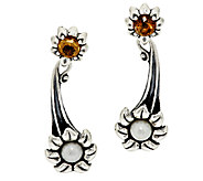 Carolyn Pollack Cultured Pearl & Citrine Sterling Flower Earrings - J293794