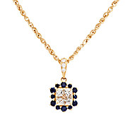 Michael Beaudry 4/10 cttw Diamond & .35ct tw Sapphire Pendant, 14K - J294394