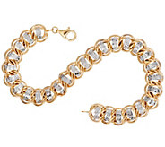 14k Gold 8 Diamond Cut Curb Link Bracelet, 6.7g - J295394