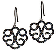 Vicenza Silver Sterling Crystal Scroll Design Dangle Earrings - J296294