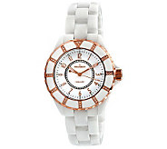 Peugeot Womens Swiss Ceramic Swarovski White Dial Watch - J308594