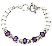 Novica Artisan Crafted Sterling Amethyst & Peridot Bracelet - J310794