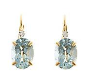 14K Yellow Gold Oval Aquamarine Diamond AccentEarrings - J314094