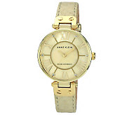 Anne Klein Womens Goldtone Leather Strap Watch - J315594