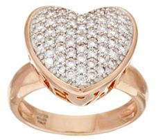 "Bronzo Italia Bold Pave' Crystal Heart ""Amore"" Ring"
