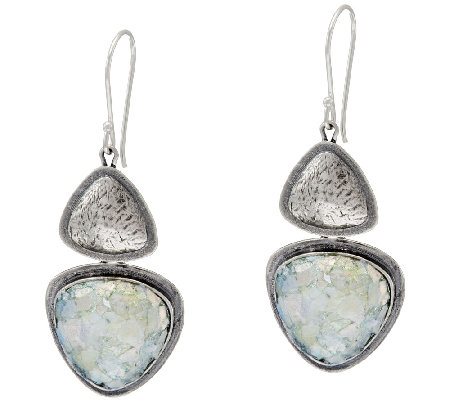 sterling silver glass textured drop earrings by or