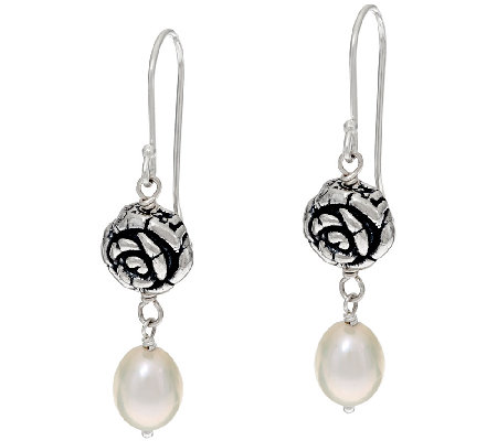 sterling silver cultured pearl drop earrings by or