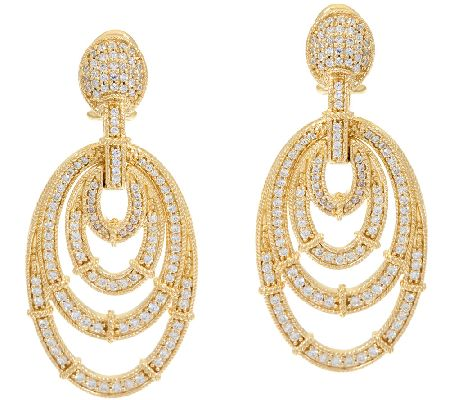 Judith Ripka Sterling & 14K Clad Diamonique Oval Earrings - J323194