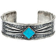 Jennifer Nettles Sterling Silver Textured Bold Turquoise Cuff - J324094