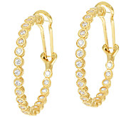 Judith Ripka Sterling &_14K Clad_118 Facet Diamonique Hoops - J324394
