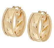 14K Gold Ribbed Round Hoop Earrings - J324694
