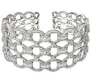 Judith Ripka Sterling 5.60 cttw Diamonique Baguette Cuff Bracelet - J328694