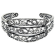 Carolyn Pollack Sterling Silver Signature Three Row Cuff Bracelet 28.2g - J329594