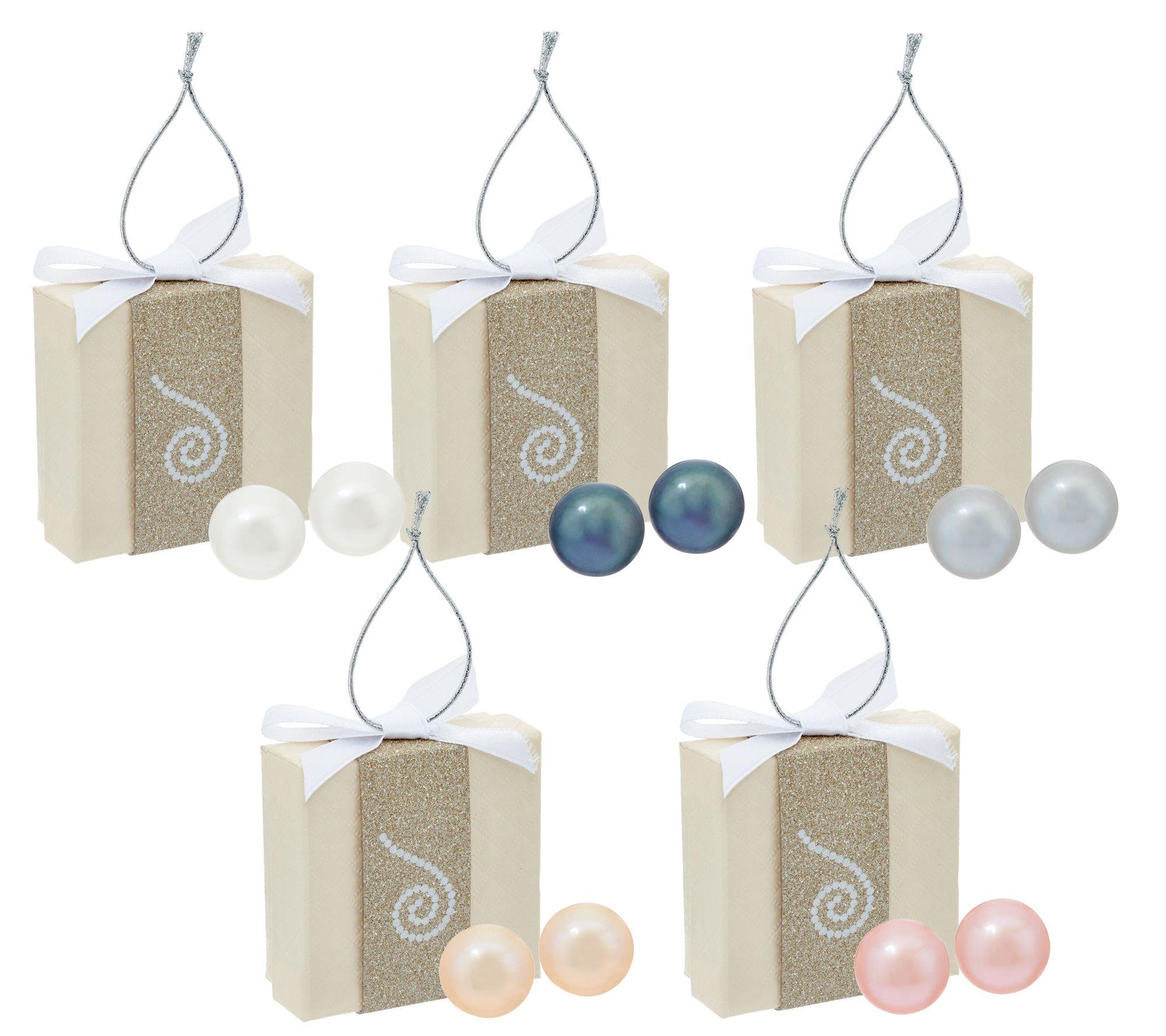 Honora Cultured Pearl Set Of 5 80mm Boxed Stainless Steel Stud Earrings   J329794