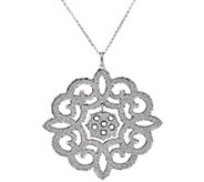 As Is Vicenza Silver Sterling Scroll Design Glitter Pendant w/ Chain - J331494
