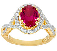 As Is Diamonique Simulated Ruby Ring Sterl. or 14K Clad - J332394