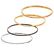 As Is RLM Studio Set 4 Sterling, Brass Hematine & Bronze Bangles - J332694