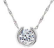 Diamonique 1.00 ct Round Pendant w/ 18 Chain, Sterling - J334694