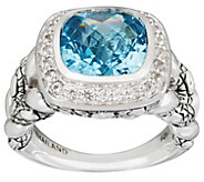 As Is JAI Sterling Cushion Cut Blue Topaz Croco Ring - J347194