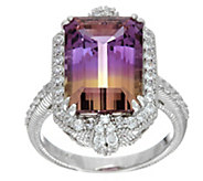 Judith Ripka Sterling Silver Ametrine & Diamonique Ring - J347994