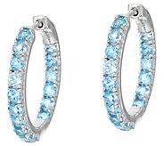 Inside-Out Gemstone Sterling Silver Hoop Earrings 3.25 cttw - J349694