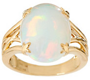 Ethiopian Opal Oval Ring 14K Gold 3.80 ct tw - J349794