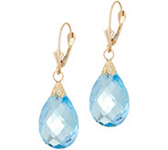14K Gold Sky Blue Topaz Earrings - J351194