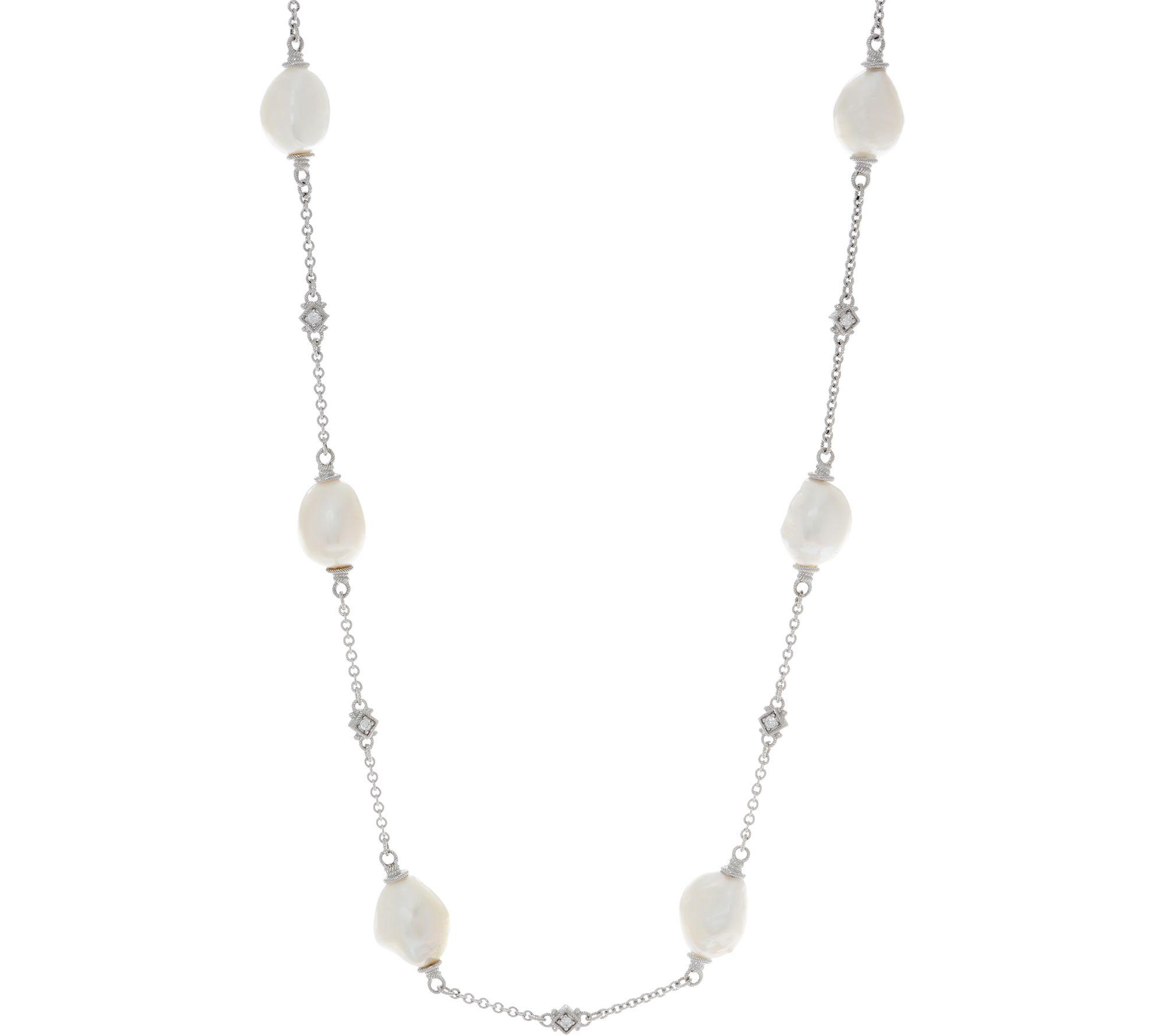 Judith Ripka Sterling Or 14k Clad Cultured Pearl Station 24 Necklace J352294