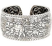 JAI Sterling Silver Engraved Hinged Cuff Bracelet, 87.9g - J352994