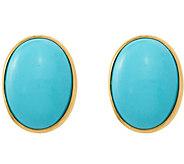14K Oval Turquoise Post Earrings - J376994