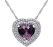 14K 2.00 ct Rhodolite & 1/4 cttw Diamond Halo Heart Necklace - J377794