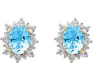 Sterling & 14K Sky Blue & White Topaz Post Earrings - J378094