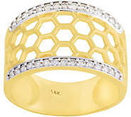 14K 1/10 cttw Diamond Honeycomb Design Ring - J379494