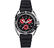 Nautica Mens Stainless Steel Black Silicone Strap Watch - J380394