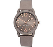 Nine West Ladies Round Taupe Strap Watch - J381094