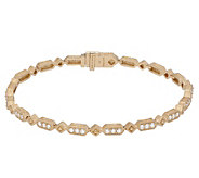 Judith Ripka 14K Gold 6-7/8 Diamond Oval LinkBracelet - J381194