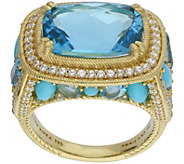 Judith Ripka 14K-Clad 8.75-Carat Blue Topaz & Turquoise Ring - J383594