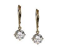 Diamonique 3.00 ct tw Round Lever Back Earrings , 14K Gold - J105195
