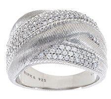 Judith Ripka Sterling Diamonique Textured Wide Highway Ring