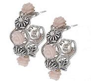 As Is Artisan Crafted Sterling Carved Pink Opal Flower Earrings - J275595