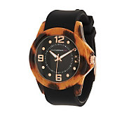 Isaac Mizrahi Live! Animal Print Rubber Strap Watch - J275795