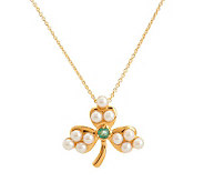 Solvar Gold Plated Shamrock Pendant/Brooch w/Chain - J277795
