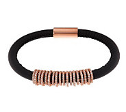 VicenzaSilver Sterling Diamonique Station Leather Bracelet - J286595