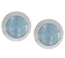 Milky Aquamarine Round Sterling Stud Earrings