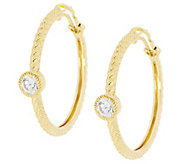 Judith Ripka Sterling 14K Clad 118 Facet Diamonique Hoop Earrings - J290995