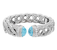 Judith Ripka Sterling DMQ & 14.00ct Blue Topaz Braided Cuff - J291795