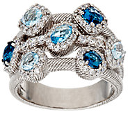 Judith Ripka Sterling 1.90 ct tw Shades of Blue Gemstone Ring - J295795