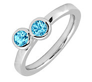 Simply Stacks Sterling & Blue Topaz Double Circle Ring - J299395