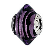 Prerogatives Purple with Black Lines Italian Murano Glass Bead - J300395