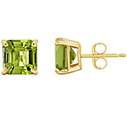 Asscher Cut Gemstone Stud Earrings, 14K Gold - J300595